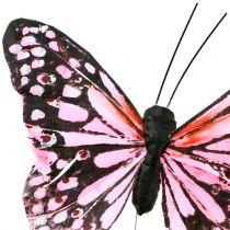 Farfalla sul filo Rosa 11 cm 12 pezzi