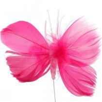 Farfalle con piume rosa / rosa / rosse, farfalle decorative su filo 6pz