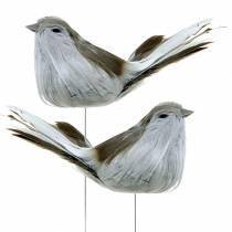 Uccello piuma su filo grigio 12 cm 4 pezzi