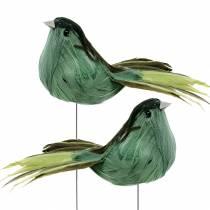 Uccello piuma su filo verde 12 cm 4 pezzi