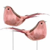Uccello piuma sul filo Rosa 12 cm 4 pezzi