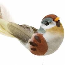 Uccellino su filo 5,5 cm colorato 9 pezzi