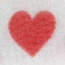 Nastro in feltro bianco con cuore 15 cm 2 m