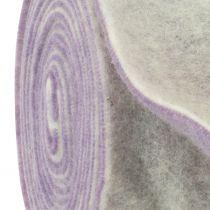 Nastro in feltro 15 cm x 5 m bicolore viola chiaro, bianco