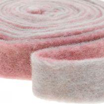 Cerniera a vaso, nastro decorativo feltro di lana rosa antico / grigio L 4,5 cm L 5 m