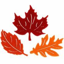 Decorazione da controllare Foglie di feltro autunnali rosse, arancioni 3,5 cm 36 pezzi
