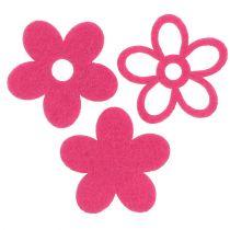 Fiore in feltro per spolverare rosa come set di decorazioni Ø4cm 72 pezzi