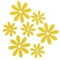 Fiore in feltro incastonato in 96 pezzi gialli