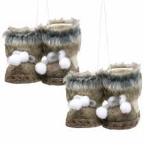 Addobbi per albero di Natale Paio di scarpe in feltro con pelliccia 10 cm x 8 cm 2 pezzi