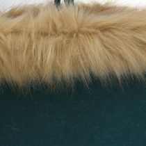 Borsa in feltro con bordo in pelliccia verde 38 cm x 24 cm x 20 cm