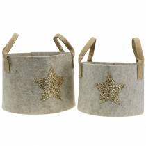 Borsa in feltro rotonda con set di 2 paillettes a stella