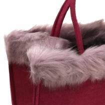 Borsa in feltro con bordo in pelliccia rosso scuro 38 cm x 24 cm x 20 cm