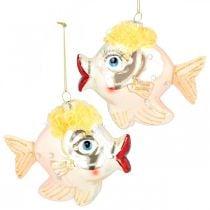 Decorazioni per l'albero di Natale pesce, ciondoli decorativi, decorazioni natalizie, vero vetro H9,5cm 2 pezzi