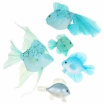 Pesci decorativi da appendere blu turchese verde grigio 10-22 cm 5 pezzi