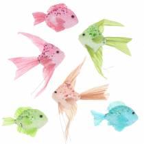 Pesce decorativo per appendere verde rosa arancione blu 13-24 cm 6 pezzi