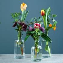 Vaso bottiglia piccolo Ø5,5 cm H10,5 cm chiaro 6 pezzi