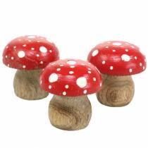 Toadstools decorativi in legno Ø4,6–5cm H4,6–4,9cm 6 pezzi