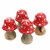 Toadstools decorativi in legno Ø4,6–5 cm H6,8–7,2 cm 4 pezzi