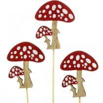 Funghi velenosi in legno, decorazione a fungo, autunno, borchie di fiori H7cm L34cm 18 pezzi