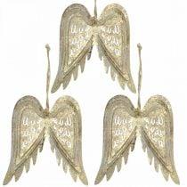 Ali d'angelo, decorazioni in metallo da appendere, decorazioni per l'albero di Natale dorate, aspetto antico H11.5cm L11cm 3 pezzi
