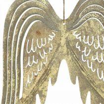 Ali d'angelo decorazioni natalizie, decorazioni in metallo, ali da appendere dorate, aspetto antico H29,5 cm L28,5 cm