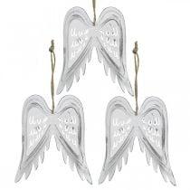 Ali d'angelo da appendere, decorazioni natalizie, ciondoli in metallo bianco H11.5cm L11cm 3 pezzi
