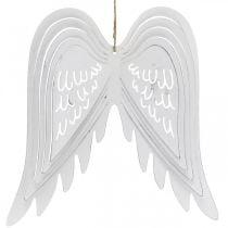 Ali da appendere, decorazione dell'Avvento, ali d'angelo in metallo Bianco H29,5 cm L28,5 cm