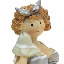 Figura decorativa donna in costume da bagno grigio 10 cm 2 pezzi