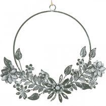 Decorazione primaverile, decorazione ad anello fiori, decorazione in metallo, decorazione floreale pendente Ø16cm 2 pezzi