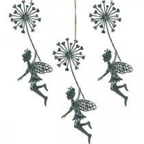 Decorazione primaverile, elfo con dente di leone, decorazione ciondolo fata fiore, decorazione in metallo 3pz