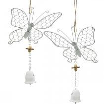 Decorazione primaverile, farfalle in metallo, Pasqua, decorazione ciondolo farfalla 2pz