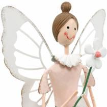 Fata primaverile con fiore, decorazione in metallo, fata in fiore, primavera, decorazione elfo