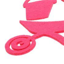Attrezzi da giardino in feltro rosa 24 pezzi