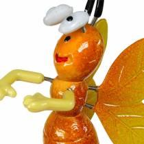 Spilla da fiore ape su fiore con molle in metallo arancio, viola H74cm