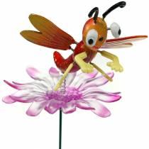 Tappo da giardino libellula su fiore con molla in metallo arancione, rosa H74cm
