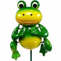 Spina decorativa rana saltatrice con molle in metallo verde, gialla H65,5cm