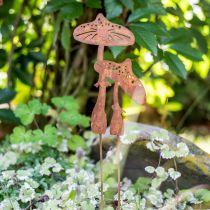 Coppia di funghi plug da giardino effetto ruggine H49,5cm