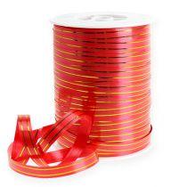 Nastro regalo 2 strisce dorate su rosso 10 mm 250m