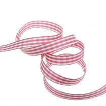 Nastro regalo check rosa 15mm 20m