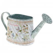 Annaffiatoio decorativo vaso fioriera in metallo decoro estivo H15.5cm