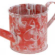 Annaffiatoio motivo a cuore, festa della mamma, lattina di metallo, San Valentino Ø10,5 cm