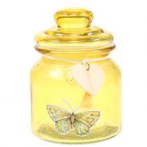 Vaso di vetro giallo bonboniere Ø11cm H15,5cm
