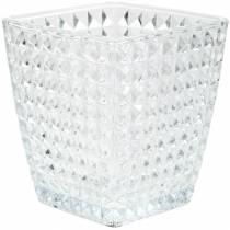 Lanterna in vetro cubo sfaccettato, decoro da tavola, vaso in vetro, decoro in vetro 2pz