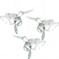 Decorazione in vetro uccelli del paradiso, decorazione colibrì, pendente in vetro, decorazione uccello 3pz