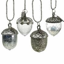 Ghianda per decorazione d'albero di Natale Metallo, vetro Colore argento antico 11 cm 4 pezzi
