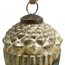 Ghiande da appendere, frutti autunnali, decorazioni per alberi, vero vetro, aspetto antico Ø7,5cm H10,5cm 2 pezzi