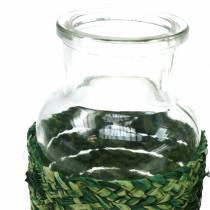 Bottiglia di vetro con bast verde H12,5 cm 3 pezzi