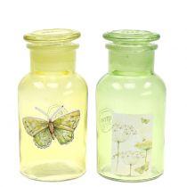 Bottiglia di vetro decorativo con chiusura 14cm 2 pezzi