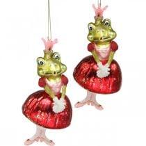 Principessa rana, addobbi per l'albero di Natale, addobbi da favola, ciondoli per alberi, vero vetro H14cm 2 pezzi