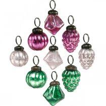 Miscela di sfere di vetro, diamante / sfera / cono in vero vetro, aspetto antico Ø3–3,5 cm H4,5–5,5 cm 9 pezzi